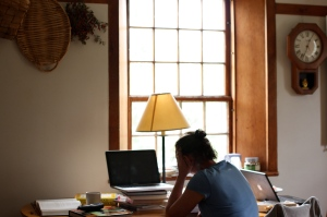 Hillary Nelson at work writing.