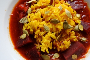 Spicy Beet Soup with Turmeric Rice