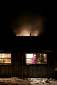 North Family Farm Sugar House Boiling at Night