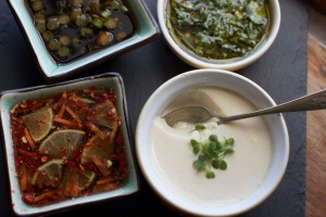 silken tofu with dipping sauces