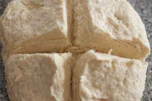 puff pastry - cutting an X in the dough