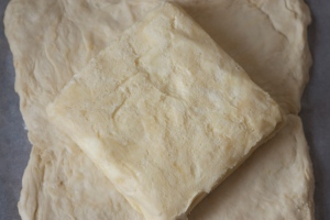 puff pastry - placing the butter block on the dough