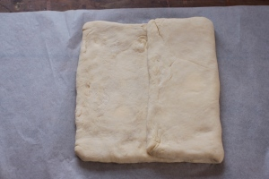 puff pastry - folding dough in thirds to make a turn