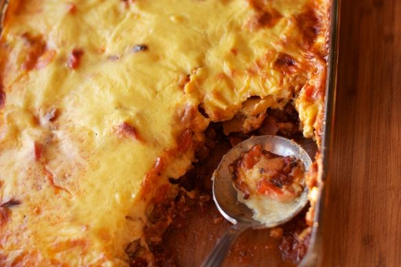 a baking dish of spring moussaka
