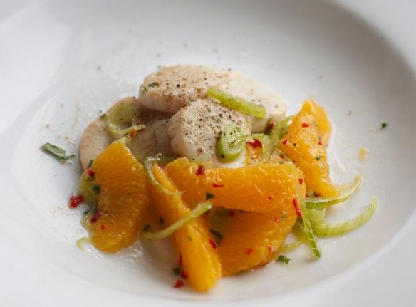 Rhubarb-Marinated Sea Scallops with Orange-Fennel Salad
