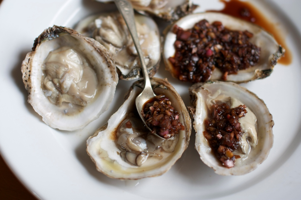 Rhubarb Mignonette Sauce and Oysters
