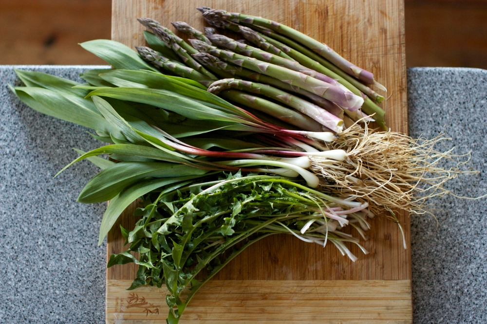 dandelion greens, ramps and asparagus