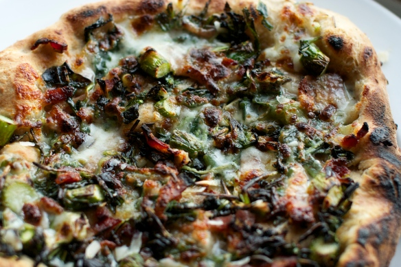 ramp, asparagus and dandelion green pizza
